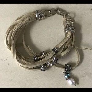 Jewelry - Beige Leather Wrap Bracelet